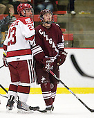\Matt McCollem (Harvard - 23), Robbie Bourdon (Colgate - 17) - The Harvard University Crimson defeated the visiting Colgate University Raiders 6-2 (2 EN) on Friday, January 28, 2011, at Bright Hockey Center in Cambridge, Massachusetts.