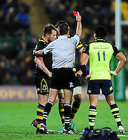 Dylan Hartley of Northampton Saints is shown a red card by referee Jerome Garces. European Rugby Champions Cup match, between Northampton Saints and Leinster Rugby on December 9, 2016 at Franklin's Gardens in Northampton, England. Photo by: Patrick Khachfe / JMP