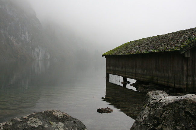 A boathouse is shrouded in fog on Lake Konigssee, Germany. Oct. 6, 2007.