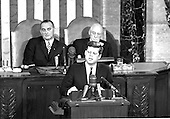 United States President John F. Kennedy outlined his vision for manned exploration of space to a Joint Session of the United States Congress, in Washington, DC on May 25, 1961 when he declared, &quot;...I believe this nation should commit itself to achieving the goal, before this decade is out, of landing a man on the Moon and returning him safely to the Earth.&quot; This goal was achieved when astronaut Neil A. Armstrong became the first human to set foot upon the Moon at 10:56 p.m. EDT, July 20, 1969.  Shown in the background ar US Vice President Lyndon B. Johnson, left, and  Speaker of the House Sam T. Rayburn (Democrat of Texas), right. <br /> Credit: Arnie Sachs / CNP