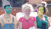 CONOR, CAROLINE AND BECKY DURING THE 'PARTY ANIMALS' TASK.in Big Brother, Day 50.half length blue pink yellow green top messy dirty face mask paint funny.*Filmstill - Editorial Use Only*.CAP/NFS.Supplied by Capital Pictures.