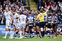 Max Lahiff is all smiles after Bath Rugby are awarded a penalty at a scrum. Aviva Premiership match, between Bath Rugby and Exeter Chiefs on October 17, 2015 at the Recreation Ground in Bath, England. Photo by: Patrick Khachfe / Onside Images