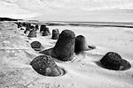 Tetrapods buried beneath sand drift near Hamaoka nuclear power plant in Shizuoka, Japan.