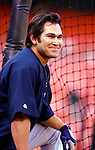 16 June 2006: Johnny Damon, center fielder for the New York Yankees, awaits his turn in the batting cage prior to a game against the Washington Nationals at RFK Stadium, in Washington, DC. The Yankees defeated the Nationals 7-5 in the first meeting of the two franchises...Mandatory Photo Credit: Ed Wolfstein Photo...