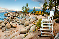 """Chair at Sand Harbor"" - This life guard chair was photographed in the early morning at Sand Harbor, Lake Tahoe."