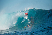 Namotu Island Resort, Nadi, Fiji (Wednesday, June 15 2016):  Mick Fanning (AUS)  and Adam Melling (AUS) - The Fiji Pro, stop No. 5 of 11 on the 2016 WSL Championship Tour, was recommenced today at Cloudbreak with a new SSW swell in the 6' plus range. The contest had endured a long spell of layaways due to small conditions but it roared back to life with the new swell which is expected to continue for the rest of the waiting period.<br /> The hat of the day was between Taj Burrow (AUS) who has retired for the pro tour and John John Florence (HAW) who is being tipped as a World Champion this year.<br /> Both surfers were counting two 9 pt plus rides in their scores but it was Florence who scraped through finishing Burrows 18 year career on a high.<br /> Photo: joliphotos.com