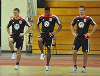 D.C. United from left to right Chris Korb, Brandon McDonal and Perry Kitchen during the pre-season fitness training session at George Manson University before departing for Bradenton Florida to get ready for the 2013 season, Friday January 18, 2013.