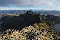 View towards Ristind from summit of Østhimmeltind, Vestvågøy, Lofoten Islands, Norway
