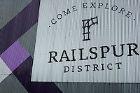 Railspur District sign on Granville Island, Vancouver, BC, Canada