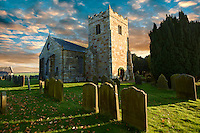 Norman tower of Danby church, Danby Dale.  North Yorks National Park, North Yorkshire, England