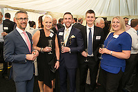 All smiles from left are a trio from Bygott Biggs - David Mayfield, Jane Biggs and Richard Betts with Matthew Flint and Helen Webster both of Gatley Plc