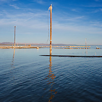 Abandoned telephone poles in water, Bombay Beach, Salton sea, California
