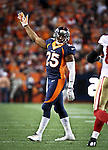 SHOT 10/19/14 6:02:58 PM - Denver Broncos cornerback Chris Harris Jr. #25 tries to get the home fans involved against the San Francisco 49ers at Sports Authority Field at Mile High Sunday October 19, 2014 in Denver, Co. The Broncos beat the 49ers 42-17.<br /> (Photo by Marc Piscotty / &copy; 2014)