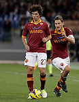 Calcio, Serie A: Roma vs Udinese. Roma, stadio Olimpico, 28 ottobre 2012..AS Roma defender Dodo', of Brazil, in action past teammate Francesco Totti, right, during the Italian Serie A football match between AS Roma and Udinese, at Rome, Olympic stadium, 28 October 2012..UPDATE IMAGES PRESS/Riccardo De Luca