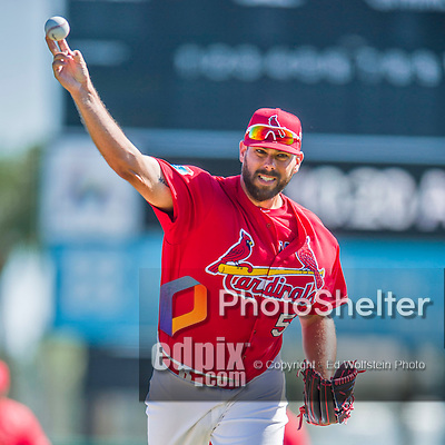 6 March 2016: St. Louis Cardinals pitcher Jordan Walden warms up prior to a Spring Training pre-season game against the Washington Nationals at Roger Dean Stadium in Jupiter, Florida. The Nationals defeated the Cardinals 5-2 in Grapefruit League play. Mandatory Credit: Ed Wolfstein Photo *** RAW (NEF) Image File Available ***