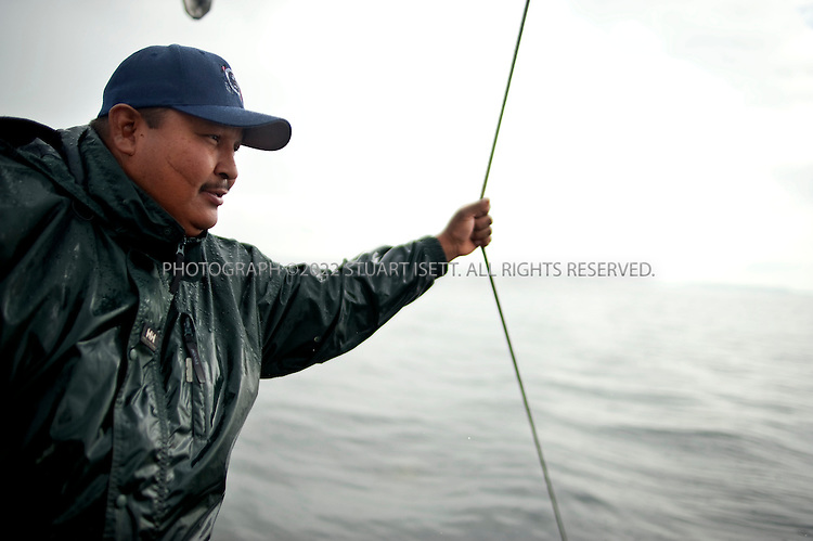 8/14/2009--Puget Sound, Seattle, WA, USA..Jeff Choke, a member of the Nisqually Indian tribe in Washington State, and director of marketing for Nisqually Aquatic Technologies. Choke is on board the Twila Dawn on Puget Sound helping to remove old fishing nets. ..Choke's diving company has been hired using federal stimulus dollars to remove old nets in Puget Sound that destroy habitat and kill fish and other marine animals. The Nisqually indians are one of many tribes whose fishing has been affected by the big commercial fishing nets that came to deplete fish populations and damage the Sound....©2009 Stuart Isett. All rights reserved.
