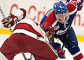 Kyle Criscuolo (Harvard - 11), Michael Colantone (UML - 24) - The visiting University of Massachusetts Lowell River Hawks defeated the Harvard University Crimson 5-0 on Monday, December 10, 2012, at Bright Hockey Center in Cambridge, Massachusetts.