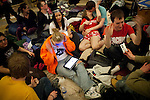 Protestors prepare to spend the night in the Wisconsin State Capitol rotunda over a bill that threatens to strip collective bargaining rights in Madison, Wisconsin, February 22, 2011.