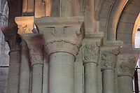 Carved stone capitals, late 11th century, in the East side of the Western bell tower of the Collegiale Notre-Dame de Poissy, a catholic parish church founded c. 1016 by Robert the Pious and rebuilt 1130-60 in late Romanesque and early Gothic styles, in Poissy, Yvelines, France. These are the oldest capitals in the oldest part of the church, and are carved with leaf designs with a Normandy influence. The Collegiate Church of Our Lady of Poissy was listed as a Historic Monument in 1840. Picture by Manuel Cohen
