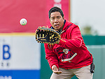 7 March 2015: Washington Nationals Medical Staff Assistant John Hsu tosses some ball prior to a Spring Training game against the St. Louis Cardinals at Space Coast Stadium in Viera, Florida. The Nationals rallied to defeat the Cardinals 6-5 in Grapefruit League play. Mandatory Credit: Ed Wolfstein Photo *** RAW (NEF) Image File Available ***