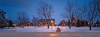 Panorama of University Row, Ira Allen Chapel, Billings Library, Williams Hall, Old Mill, and the UVM Campus Green, Winter. Winter UVM Campus