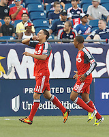 Toronto FC midfielder Luis Silva (11) celebrates his goal. In a Major League Soccer (MLS) match, Toronto FC defeated New England Revolution, 1-0, at Gillette Stadium on July 14, 2012.