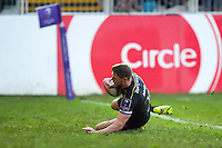 Rhys Priestland of Bath Rugby runs in a try. European Rugby Challenge Cup match, between Bath Rugby and Pau (Section Paloise) on January 21, 2017 at the Recreation Ground in Bath, England. Photo by: Patrick Khachfe / Onside Images
