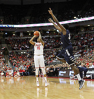 Ohio State's LaQuinton Ross (10) shoots over North Florida's Demarcus Daniels (32) during the second half Friday, Nov. 29, 2013, in Columbus, Ohio. (Photo by Terry Gilliam)