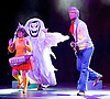 Scooby-Doo! Live Musical Mysteries <br /> at The Palladium, London, Great Britain <br /> press photocall <br /> 17th August 2016 <br /> <br /> <br /> Charlie Bull as Daphne <br /> <br /> Charlie Haskins as Shaggy <br /> <br /> Chris Warner Drake as Fred <br /> <br /> Photograph by Elliott Franks <br /> Image licensed to Elliott Franks Photography Services