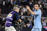 Cameraman films Matt Besler Sporting KC defender at the end of the game... Sporting Kansas City defeated Portland Timbers 3-1 at LIVESTRONG Sporting Park, Kansas City, Kansas.