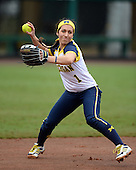 Michigan Wolverines infielder Abby Ramirez (1) during warmups before the season opener against the Florida Gators on February 8, 2014 at the USF Softball Stadium in Tampa, Florida.  Florida defeated Michigan 9-4 in extra innings.  (Copyright Mike Janes Photography)