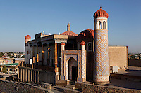 """General view of Hazrat-Hyzr mosque, known as a """"Kadamjoy"""" (place of a Trace), 19th century, Samarkand, Uzbekistan, pictured on July 19, 2010, at dawn.The Hazrat-Hyzr mosque, built in """"ayvan"""" style, is located on a hill in Tashkent Street on the site of the ancient shrine of the holy elder Hyzr, protector of wanderers, and the 11th century site of Samarkand's first mosque, destroyed in the 1220 invasion of Genghiz-khan. Samarkand, a city on the Silk Road, founded as Afrosiab in the 7th century BC, is a meeting point for the world's cultures. Its most important development was in the Timurid period, 14th to 15th centuries. Picture by Manuel Cohen."""
