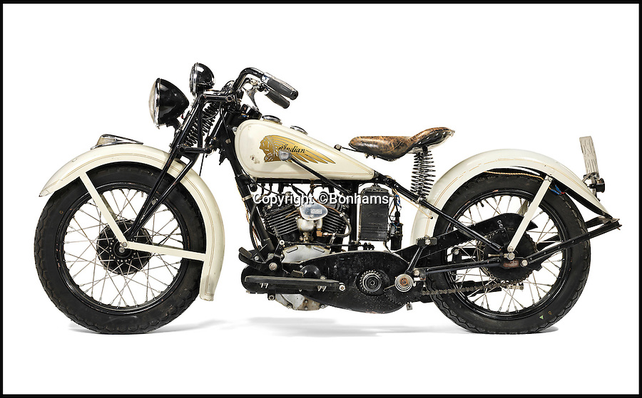 BNPS.co.uk (01202 558833)<br /> Pic: Bonhams/BNPS<br /> <br /> A plush 80-year-old motorbike that used to be owned by Hollywood legend Steve McQueen has emerged for sale for &pound;65,000.<br /> <br /> The 1934 Indian Sport Scout bike was among The Great Escape star McQueen's vast collection he amassed over the course of his glittering screen career.<br /> <br /> Indian was said to be renowned petrolhead McQueen's favourite make of and the Scout was its most successful model.<br /> <br /> Experts say there a few more desirable bikes in existence, and expect it to sell for &pound;65,000 when it goes under the hammer at a Bonhams sale at Staffordshire County Showground on October 18.