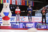 "SHORT TRACK: MOSCOW: Speed Skating Centre ""Krylatskoe"", 15-03-2015, ISU World Short Track Speed Skating Championships 2015, Podium 1000m Men, Charles HAMELIN (CAN), Se Yeong PARK (KOR), Jingnan SHI (CHN), ©photo Martin de Jong"