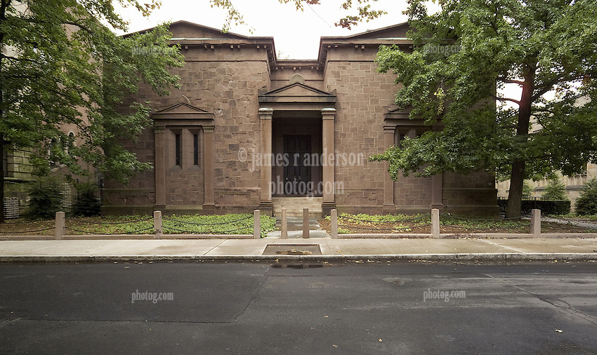 Home of Skull and Bones Fraternity at Yale University. High Street, New Haven, CT. Front Elevation, Building faces East.