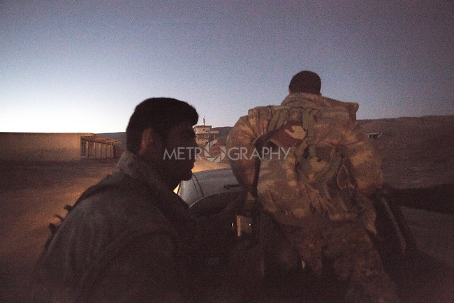 13/11/2015-- Iraq,Sinjar-- Peshmarga and YPG fighters at the down of the first day of liberating Sinjar. they started to move and get closer to Sinjar.