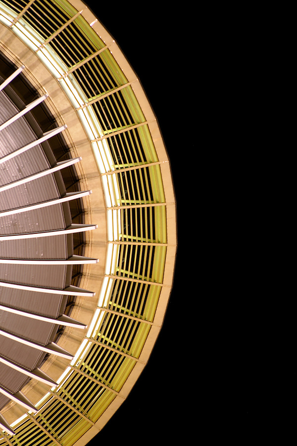 Nighttime detail of top of Seattle Space Needle, Seattle Center, Seattle, Washington, USA