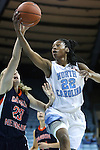 05 November 2014: North Carolina's N'Dea Bryant (22) and Carson-Newman's Taylor Peterson (23). The University of North Carolina Tar Heels hosted the Carson-Newman University Eagles at Carmichael Arena in Chapel Hill, North Carolina in an NCAA Women's Basketball exhibition game. UNC won the game 88-27.