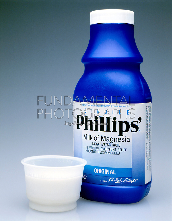 MILK OF MAGNESIA<br /> Mg(OH)2(s)<br /> Cup indicates adult dosage.