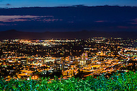 Night overview of Downtown Roanoke, Virginia USA.
