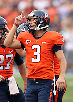 Sept. 3, 2011 - Charlottesville, Virginia - USA; Virginia Cavaliers kicker Robert Randolph (3) looks to the sky after a field goal during an NCAA football game against William & Mary at Scott Stadium. Virginia won 40-3. (Credit Image: © Andrew Shurtleff