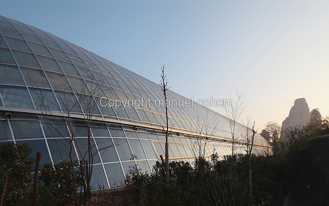 Sunrise over the Great Glasshouse with the Grand Rocher or Great Rock in the distance, at the new Parc Zoologique de Paris or Zoo de Vincennes, (Zoological Gardens of Paris or Vincennes Zoo), which reopened April 2014, part of the Musee National d'Histoire Naturelle (National Museum of Natural History), 12th arrondissement, Paris, France. Picture by Manuel Cohen