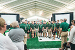 The national anthemn is performed by the Signing Men of Ohio at the Walter Fieldhouse Dedication. Photo by Ben Siegel/ Ohio University
