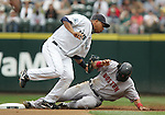 27 June 2007: Coco Crisp is tagged out at second by Seattle Mariners #4 Jose Lopez Seattle Mariners vs Boston Red Sox at Safeco Park in Seattle, Washington.