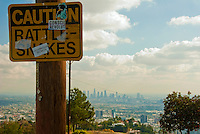 Caution Rattlesnakes Sign, Los Angeles, CA, Cityscape, Skyline