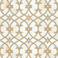 Avila, a waterjet and hand-cut stone mosaic, shown in polished Cloud Nine and honed Lavigne, is part of the Miraflores Collection by Paul Schatz for New Ravenna.<br />