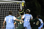 21 November 2013: USF's Brentton Muhammad (ENG) catches the ball in traffic. The University of North Carolina Tar Heels hosted the University of South Florida Bulls at Fetzer Field in Chapel Hill, NC in a 2013 NCAA Division I Men's Soccer Tournament First Round match. North Carolina won the game 1-0.