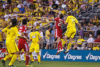 3 JULY 2010:  Brian McBride of Chicago Fire (20) and Chad Marshall during MLS soccer game between Chicago Fire vs Columbus Crew at Crew Stadium in Columbus, Ohio on July 3, 2010.