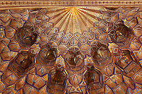 Detail of ceiling decorations of central hall of the mausoleum which contains several symbolical gravestones of the timurids,  Gur-Emir Mausoleum, 1417-20, Samarkand, Uzbekistan, pictured on July 14, 2010. Gur-Emir Mausoleum, or Tomb of the Ruler, was built by Timur in 1404 for his favourite grandson, Mohammed Sultan, and became the mausoleum for the Timurid dynasty. Samarkand, a city on the Silk Road, founded as Afrosiab in the 7th century BC, is a meeting point for the world's cultures. Its most important development was in the Timurid period, 14th to 15th centuries. Picture by Manuel Cohen.