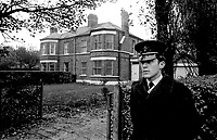 Policeman on duty outside Beersbridge Road, Belfast home of Rev. Ian Paisley, March 1970. 197003004179<br />